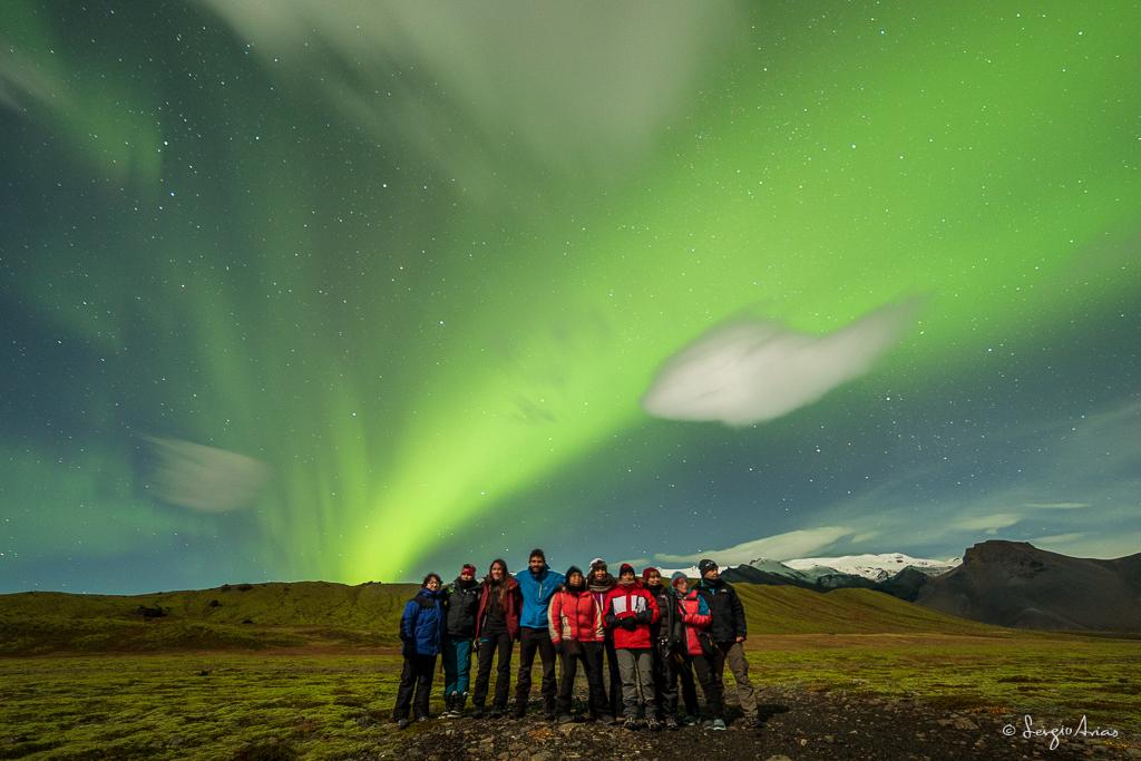 Foto de grupo con la primera Aurora Boreal que vimos