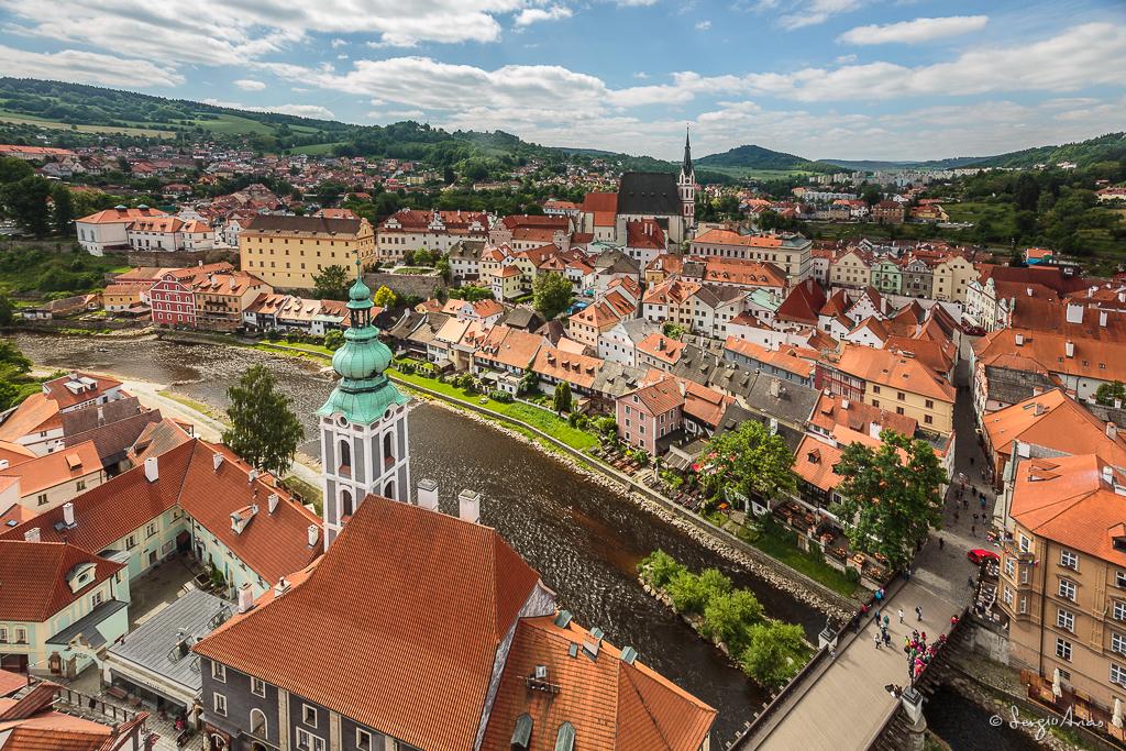 Vista de Cesky Krumlov desde la torre del Castillo
